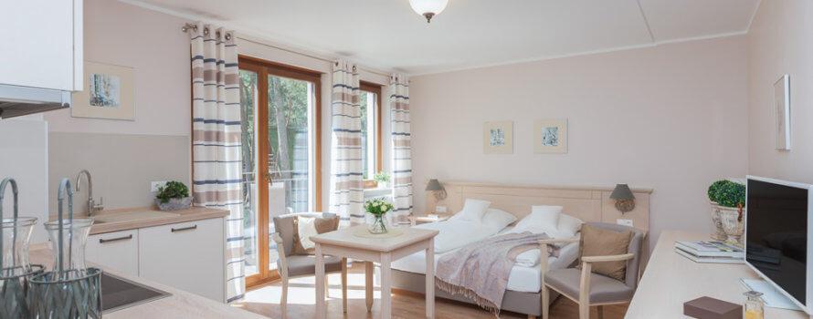 Apartament 1-pokojowy z łóżkiem małżeńskim